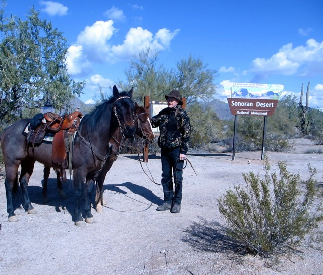 Ready to ride through the Senoran Desert National Monument under beautiful blue skies.